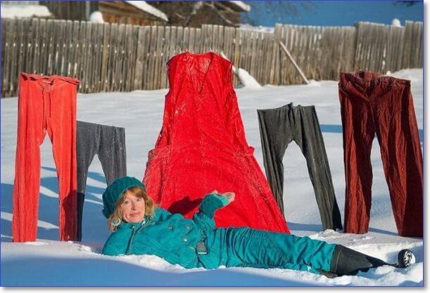 Как сушат белье в России зимой