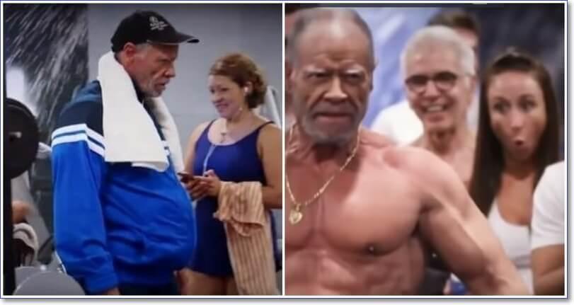 Видео прикол: 72-летний дедушка в тренажерном зале