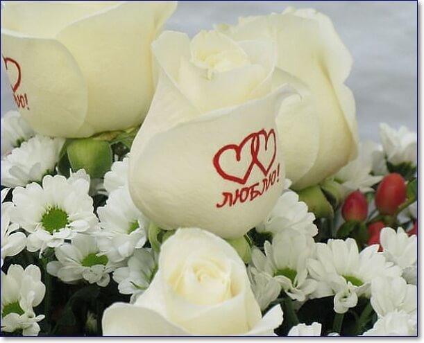 Картинки букет белых роз с надписью, открытка осень