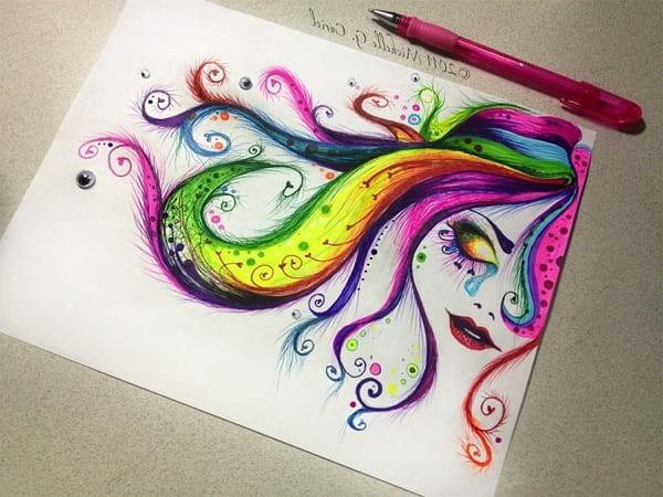 Радужные рисунки для срисовки