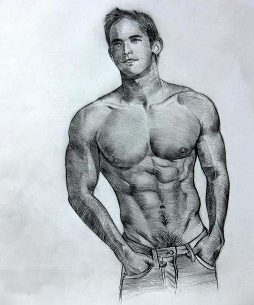 Рисунки карандашом тело мужчины